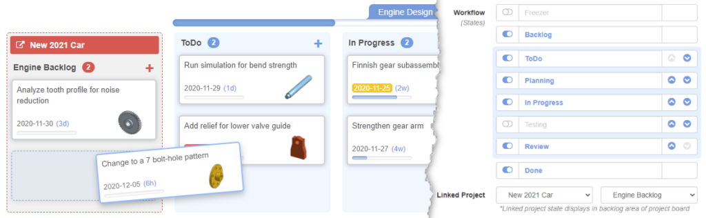 Linked Projects, Reorder Workflow States, and Type to Filter Tasks on Project Board